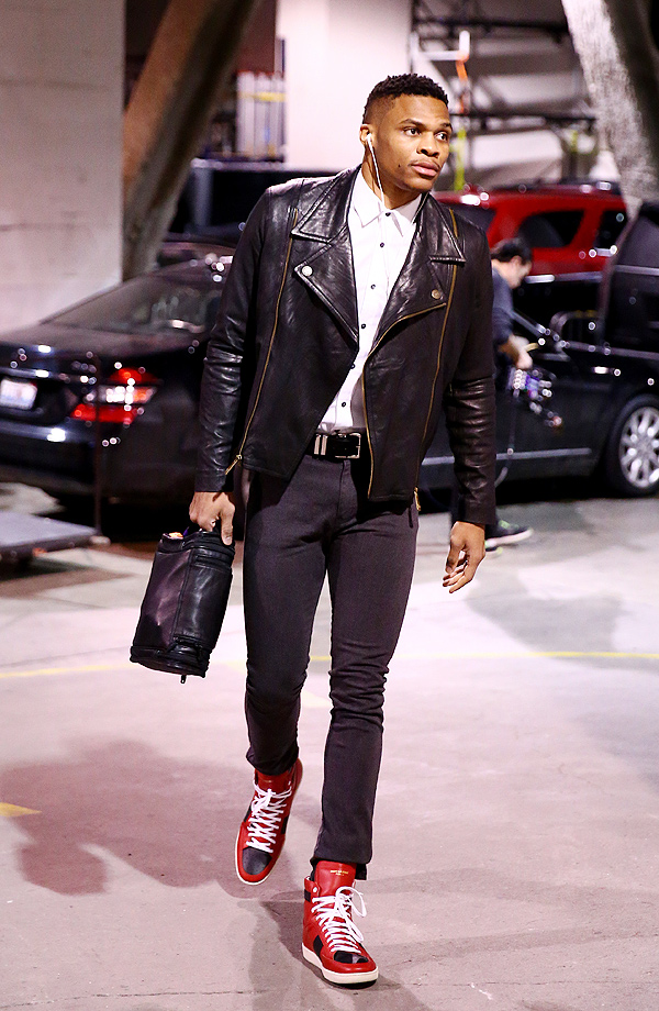 Russell Westbrook #0 of the Oklahoma City Thunder heads to the locker room before the game against the Brooklyn Nets on January 24, 2016 at Barclays Center in Brooklyn, New York.