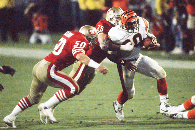 Ickey Woods rushed for a game-high 79 yards on 20 carries in Super Bowl XXIII.