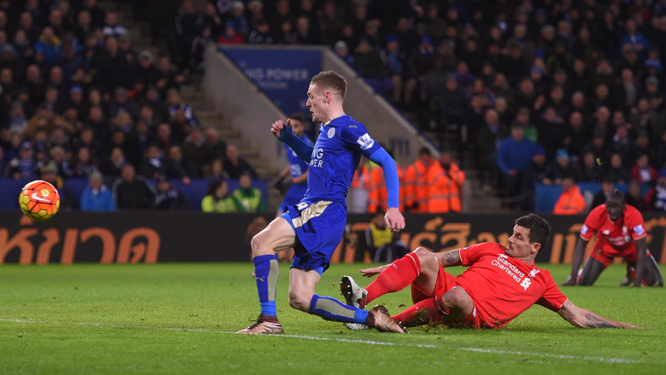 Jamie Vardy scored two goals for Leicester City vs. Liverpool