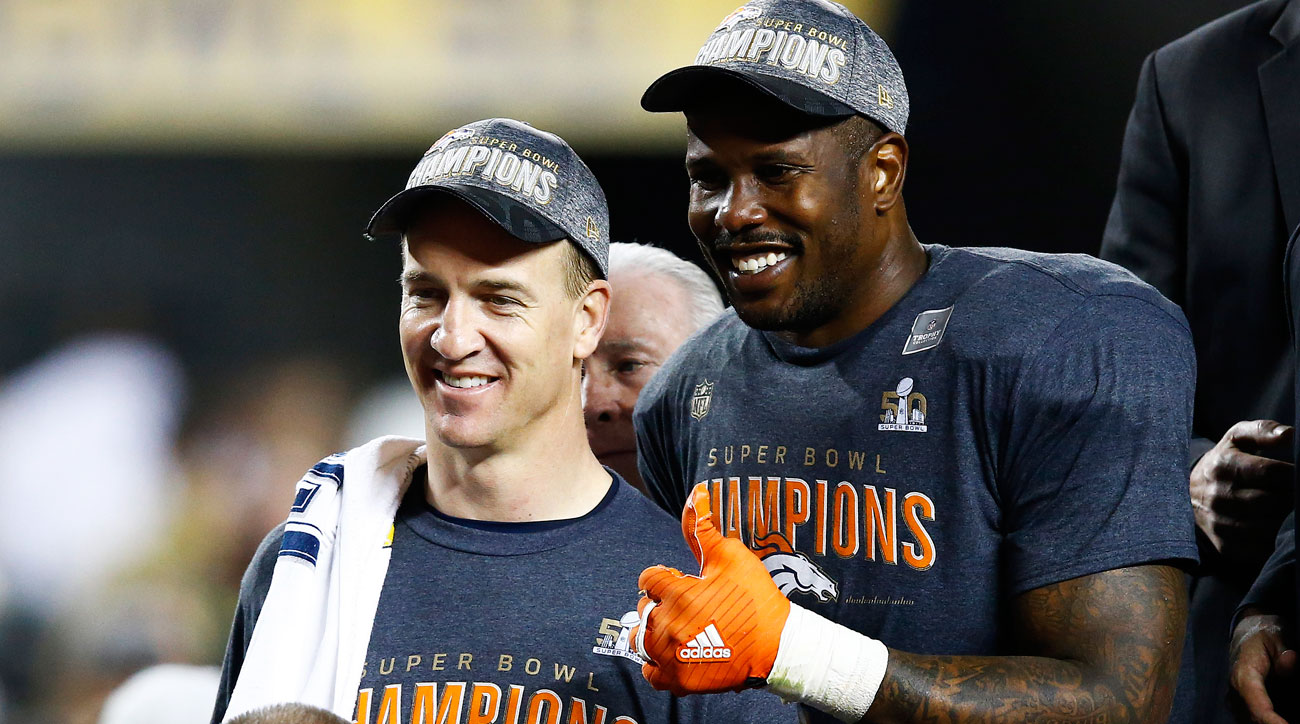 Manning and Miller were all smiles after the 24-10 win.