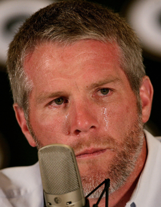 Brett Favre's tearful 2008 retirement press conference.