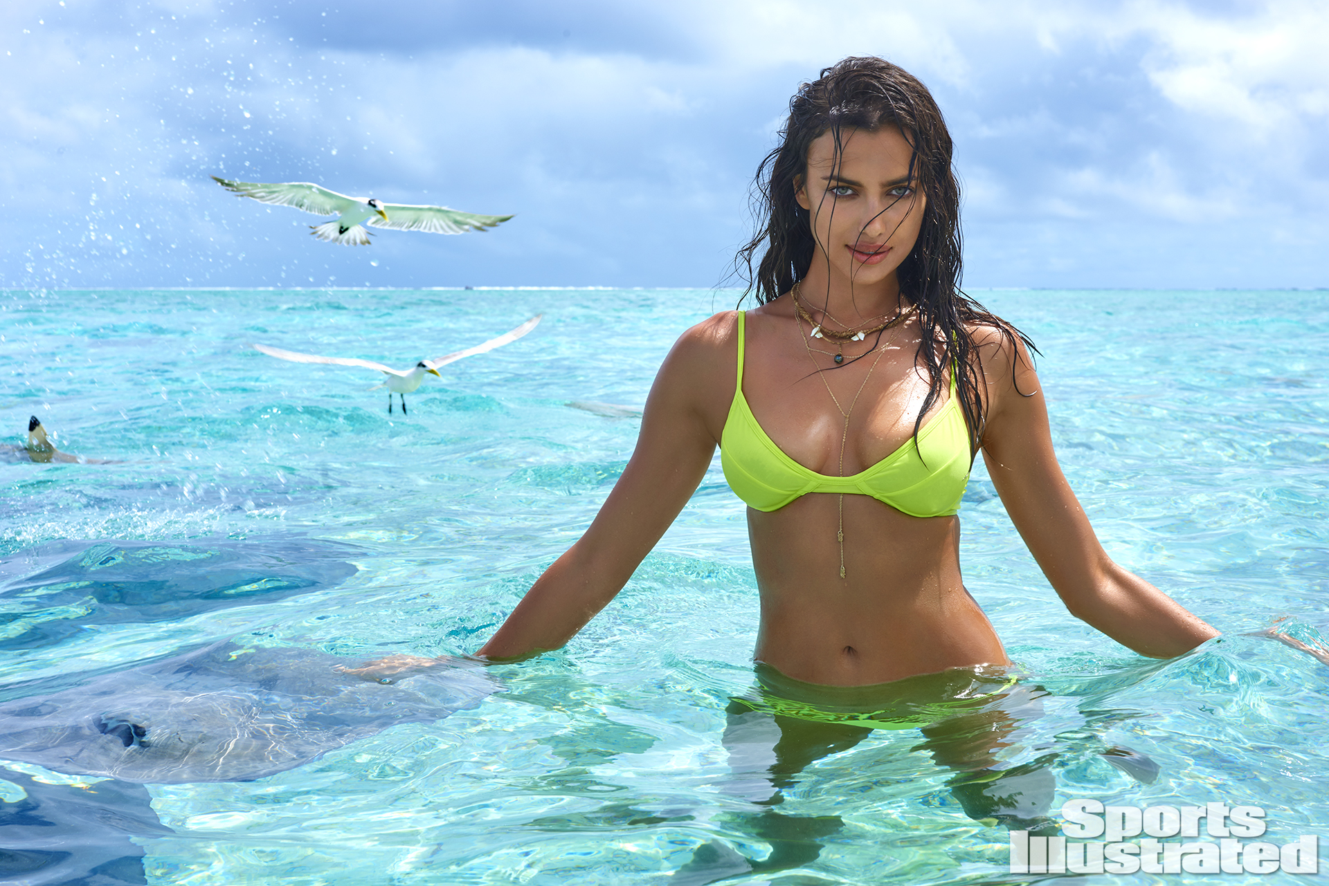 Irina Shayk was photographed by Yu Tsai in The Islands Of Tahiti. Swimsuit by Solkissed.