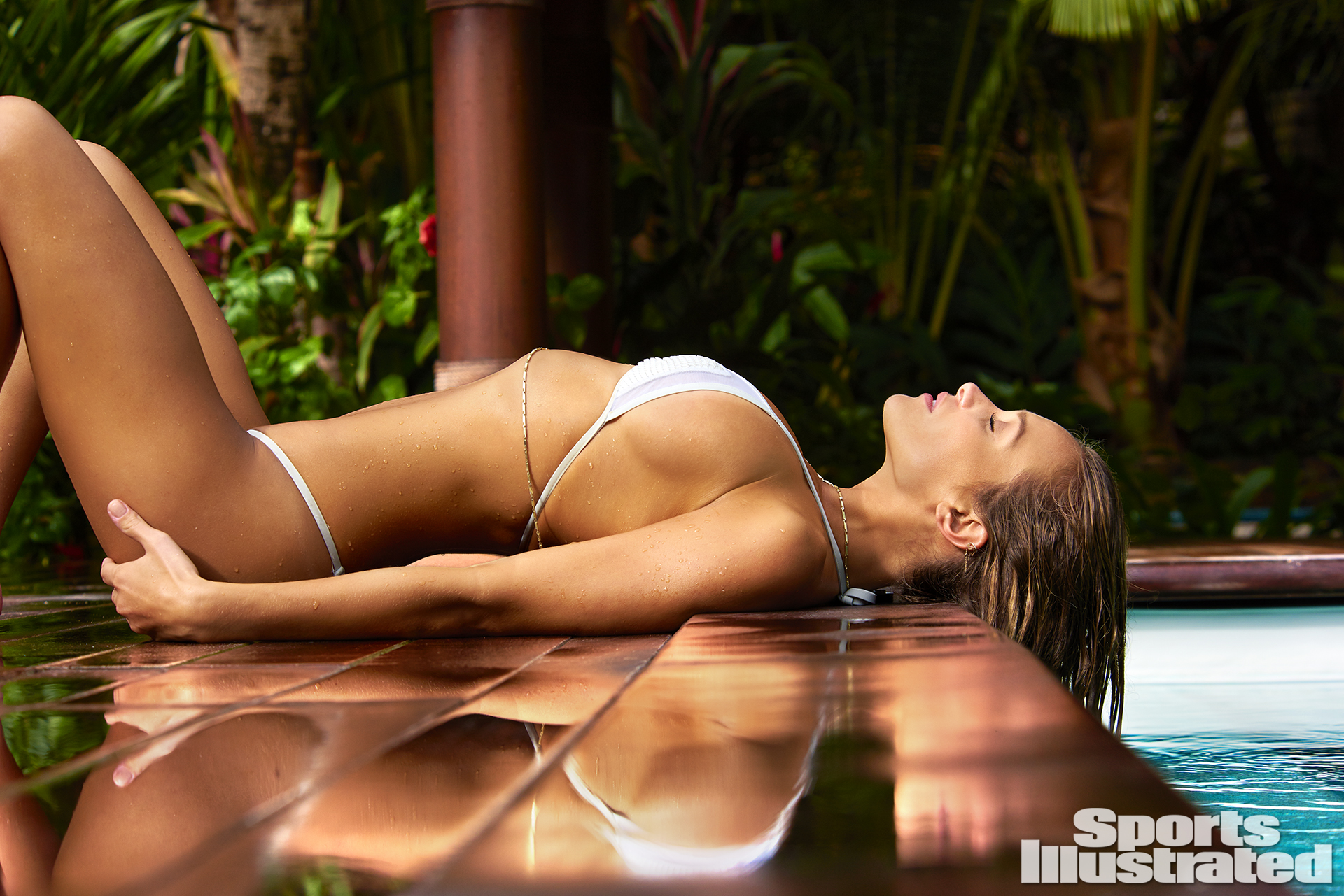 Hannah Davis was photographed by Yu Tsai in The Islands Of Tahiti. Swimsuit by Perlita.