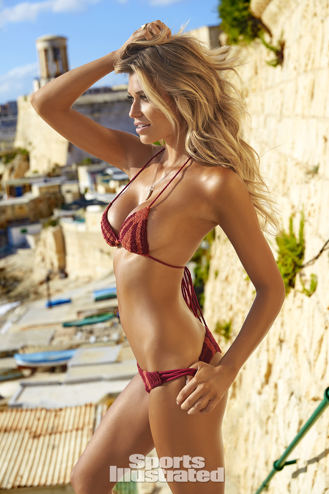 Samantha Hoopes was photographed by Ben Watts in Malta. Swimsuit by R O V E S W I M.
