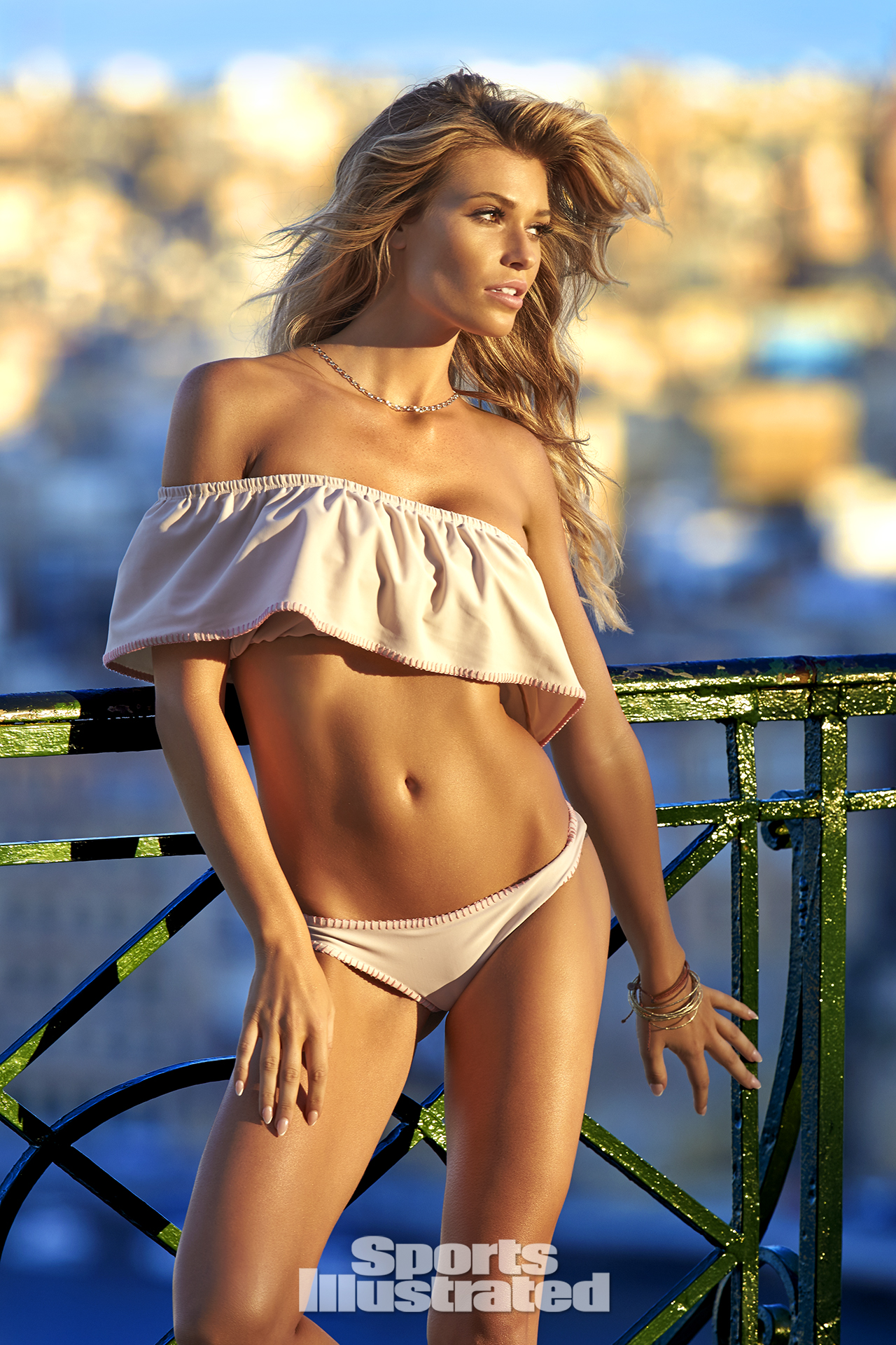 Samantha Hoopes was photographed by Ben Watts in Malta. Swimsuit by Lolli Swim.
