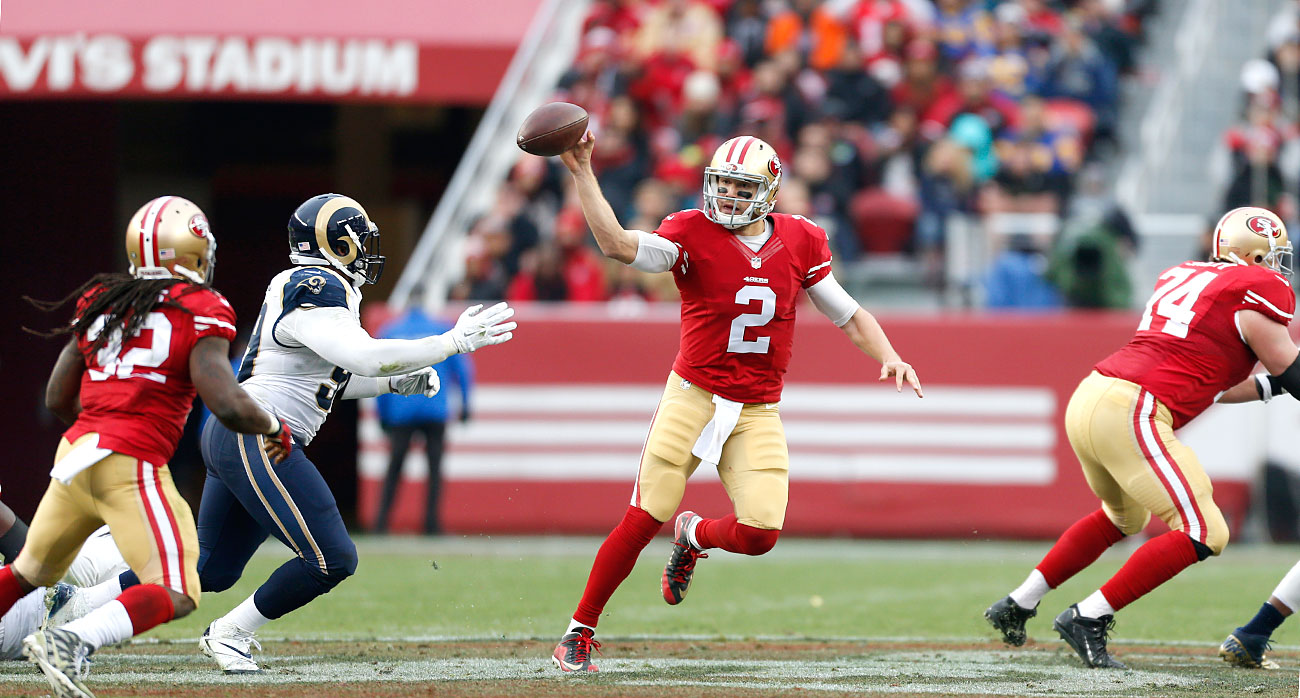 49ers quarterback Blaine Gabbert in action against the Rams.