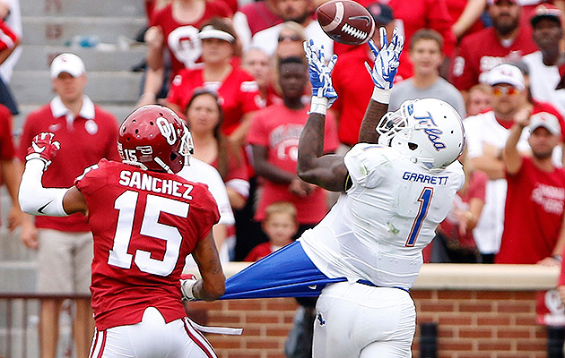Garrett put up 14 catches for 189 yards on Oklahoma's stout secondary in a losing effort on Oct. 19.