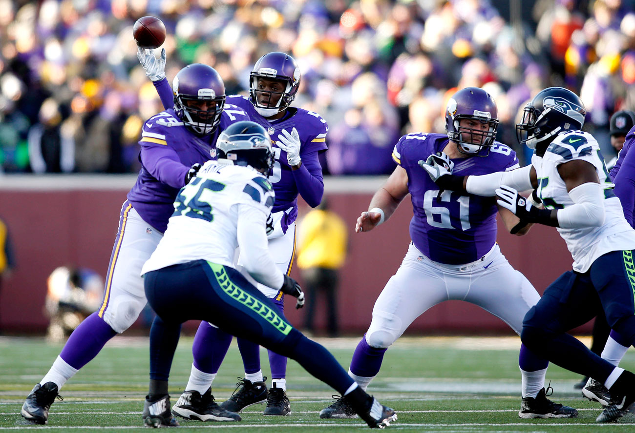 Vikings quarterback Teddy Bridgewater passes against the Seahawks in the 2015 playoffs.