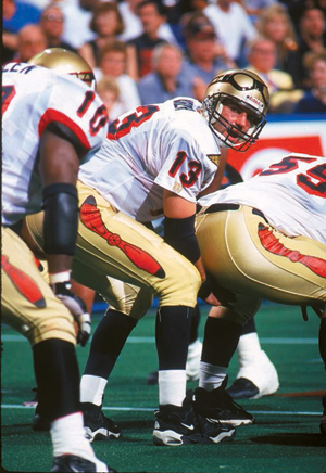Kurt Warner under center for the AFL's Iowa Barnstormers in 1996.
