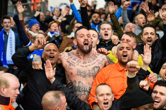 Leicester City superfan Lee Jobber sings at the Foxes win over Crystal Palace