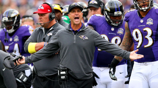 Baltimore Ravens coach John Harbaugh.
