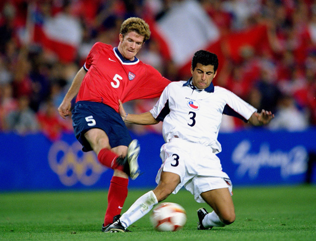 John O'Brien, left, plays in the 2000 Olympic bronze medal game for the USA against Chile.