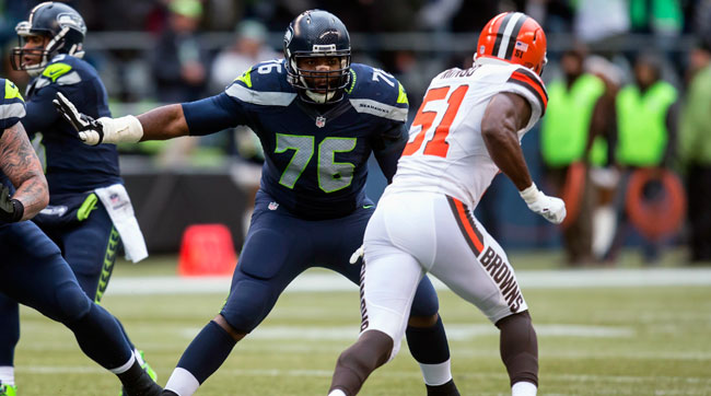 Tackle Russell Okung (76) negotiated his own free-agent deal with the Broncos after playing the first six years of his career in Seattle.