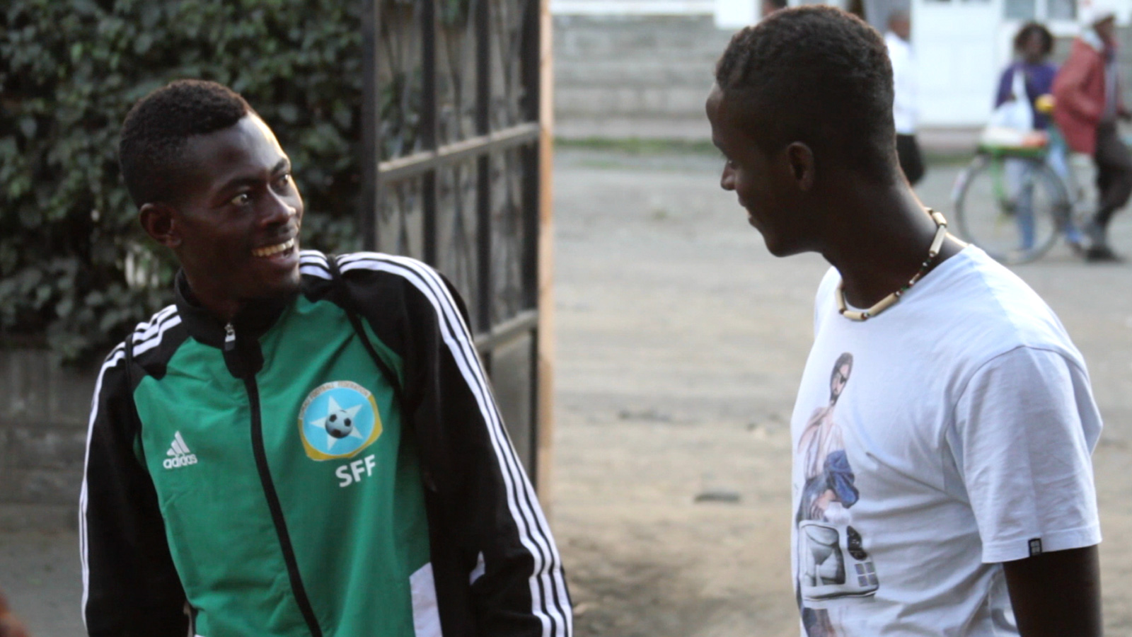 Sa'ad Hussein and Saadiq Mohammed in Nakuru, Kenya, at the CECAFA Cup tournament in December 2013.