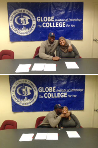 Signing day at Globe Tech: Jihad Ward and mom Kareema