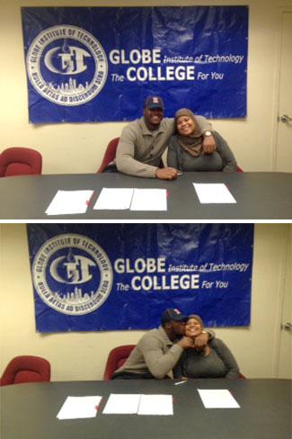 Signing day at Globe Tech: Jihad Ward and mom Kareema.
