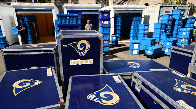 The Los Angeles rams gear arrives in Oxnard.