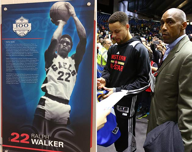 A plaque hangs at St. Mary's honoring Ralph Walker (left), who now guards Steph Curry (right).