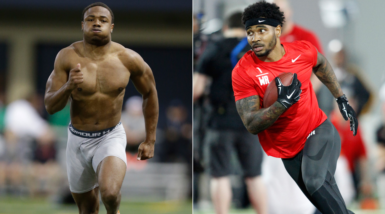 KeiVarae Russell (left) and Braxton Miller did well at their pro days in March.