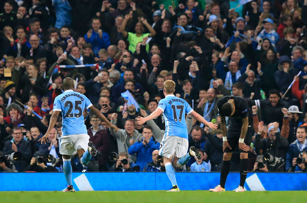 Manchester City's Kevin De Bruyne scores in the Champions League to eliminate PSG