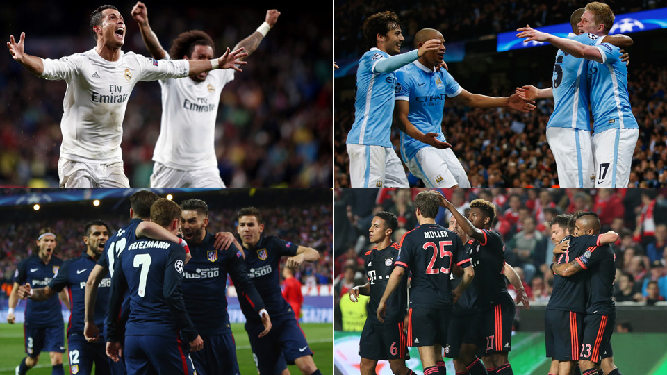 Real Madrid, Manchester City, Atletico Madrid and Bayern Munich are in the Champions League semifinals