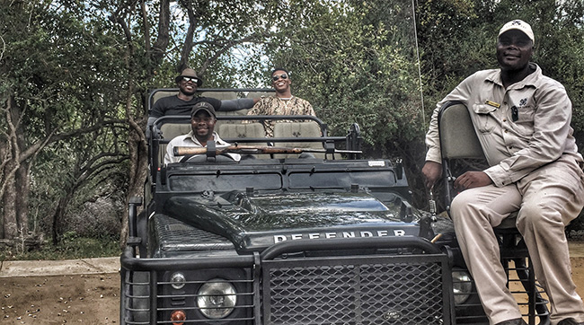 DeMarcus, Demaryius, De'Marvin and De'Melvin saw the Big Five African game animals while on safari.