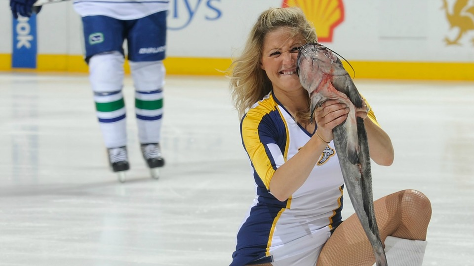 Nashville predators fans sneak catfish into playoff game for Ice fishing for catfish
