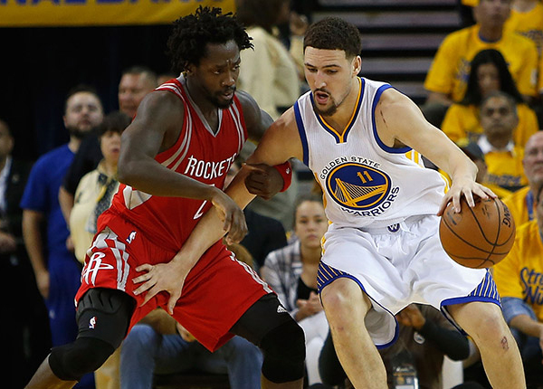 Patrick Beverley and Klay Thompson