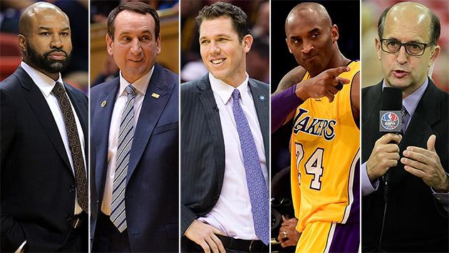 Derek Fisher, Coach K, Luke Walton, Kobe Bryant, Jeff Van Gundy