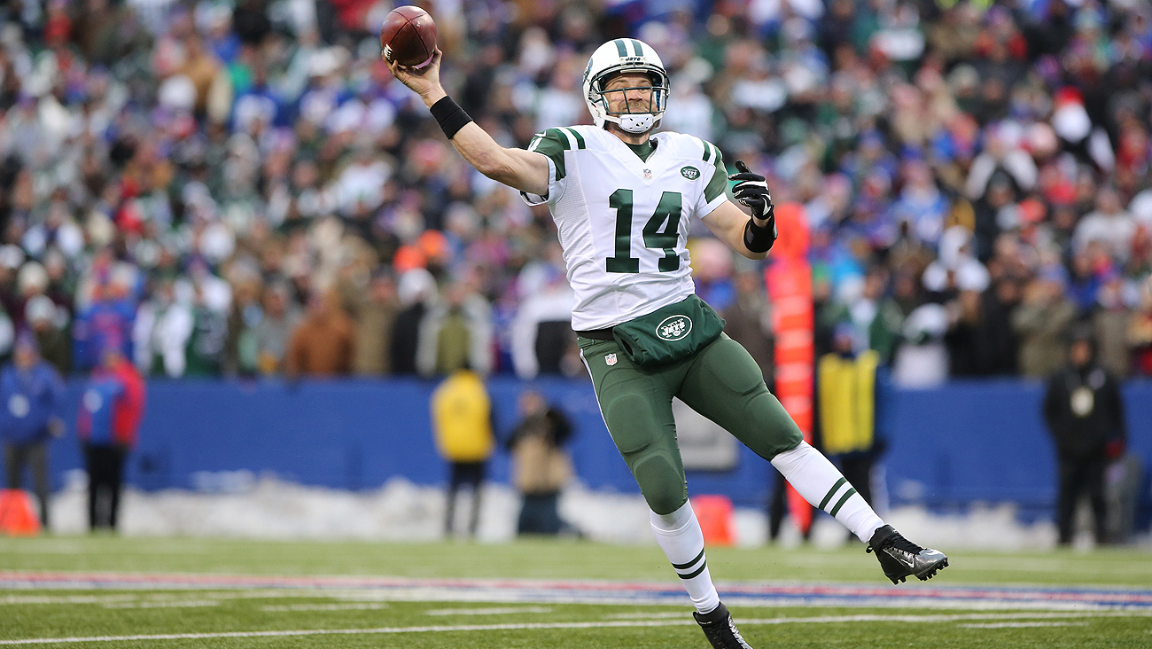 With the Jets and Ryan Fitzpatrick at a standoff, don't be surprised if the team picks a quarterback in the first two days of the draft.