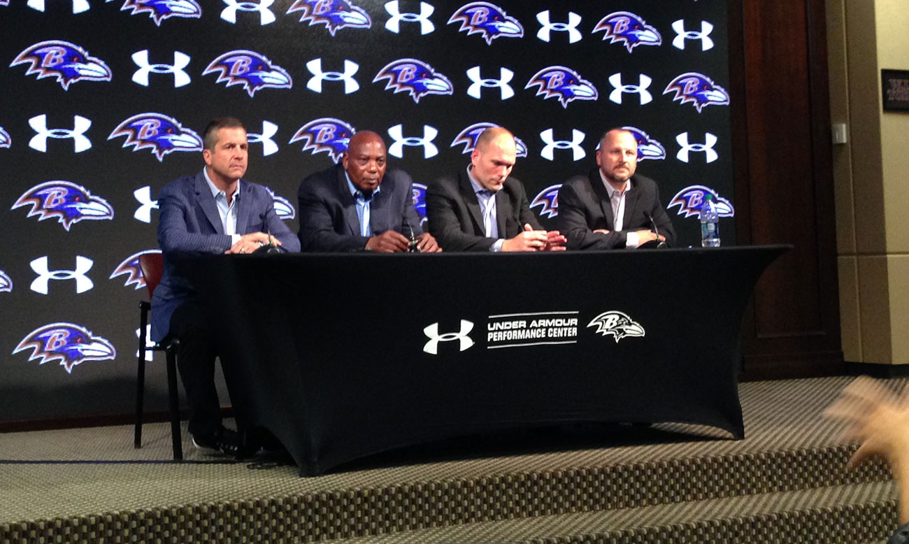 The Ravens brain trust on draft night.