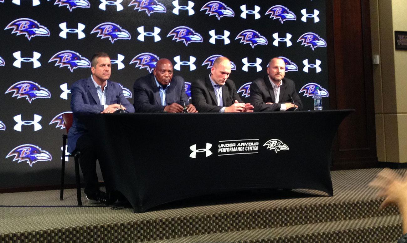 The Ravens brain trust on draft night.