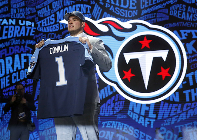 The Titans moved back up to get the tackle they might have wanted all along: Jack Conklin.