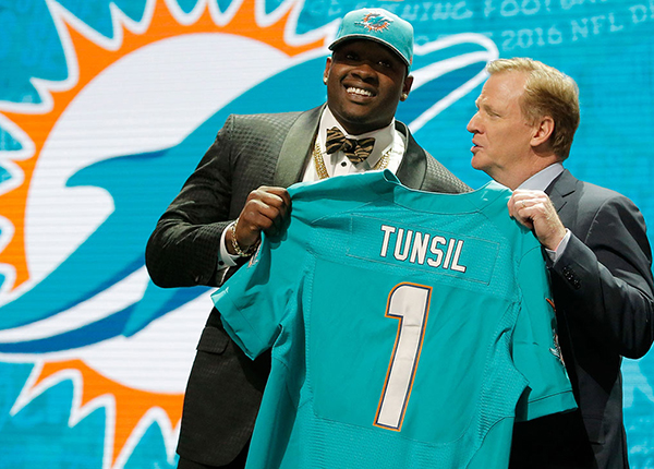 Laremy Tunsil and Roger Goodell