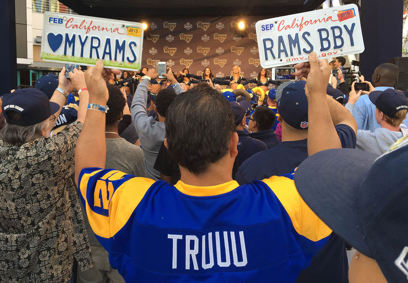 License to party: Fans celebrate the first L.A. Rams draft in more than two decades.