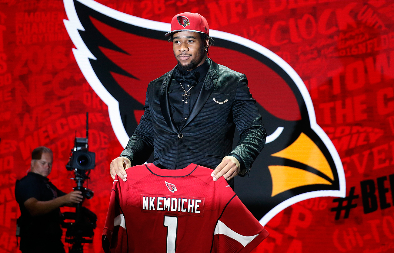 Considered one of the draft's top talents, Ole Miss pass rusher Robert Nkemdiche fell to Arizona at No. 29 due to off-field concerns.