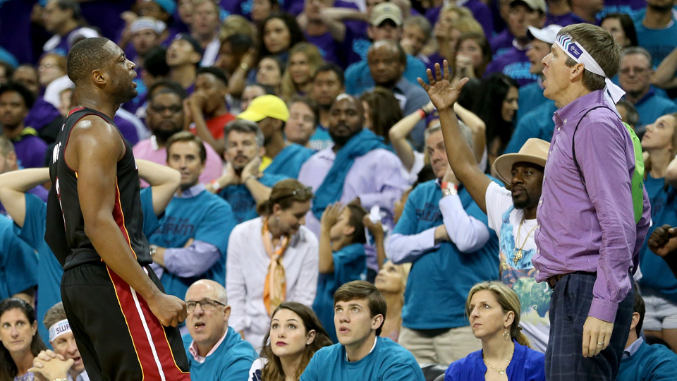Purple shirt man says he did not cost the Hornets Game 6 vs Heat ...
