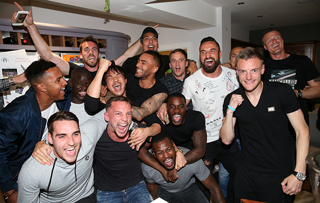 Leicester City players celebrated the Premier League title at striker Jamie Vardy's house.