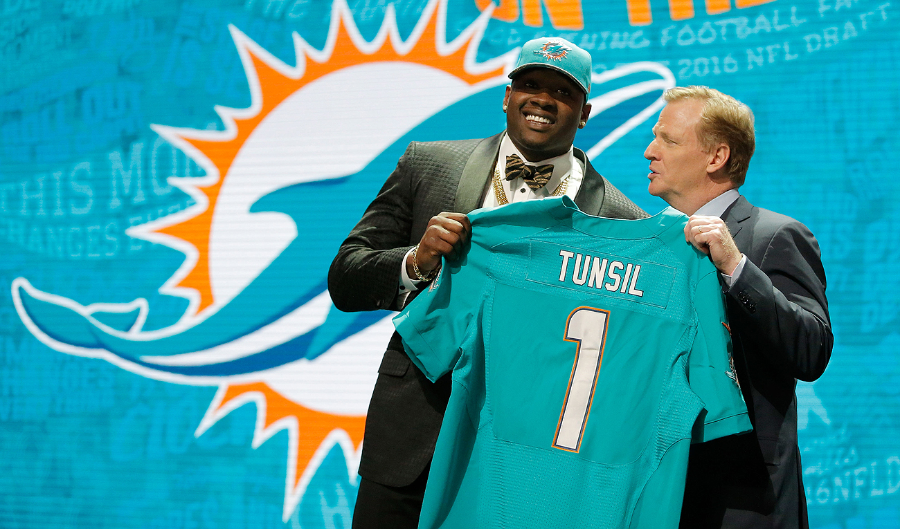 Laremy Tunsil eventually made it onstage with Roger Goodell, but at No. 13, it was later than most projected the talented tackle to be picked.