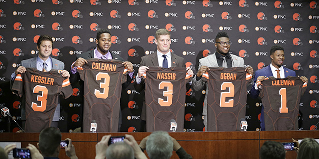 By the end of Friday night, five of the Browns' 14-man draft class was already in place (from left to right): USC QB Cody Kessler, Auburn OL Shon Coleman, Penn State DE Carl Nassib, Oklahoma State DE Emmanuel Ogbah and Baylor WR Corey Coleman.