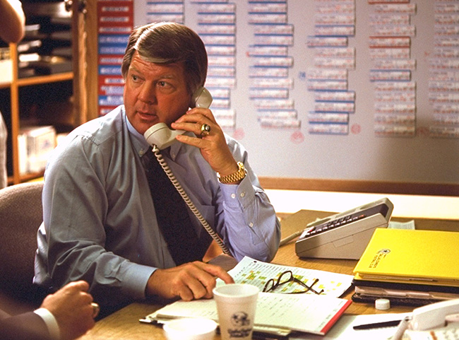 The Browns' strategy isn't new. It can be traced back to the tenure of Jimmy Johnson (here, in the Cowboys' war room in 1991) in Dallas.
