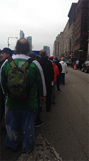 Seat fillers procession down Michigan Avenue.
