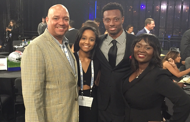 Eli Apple and family in the green room at the NFL Draft in Chicago