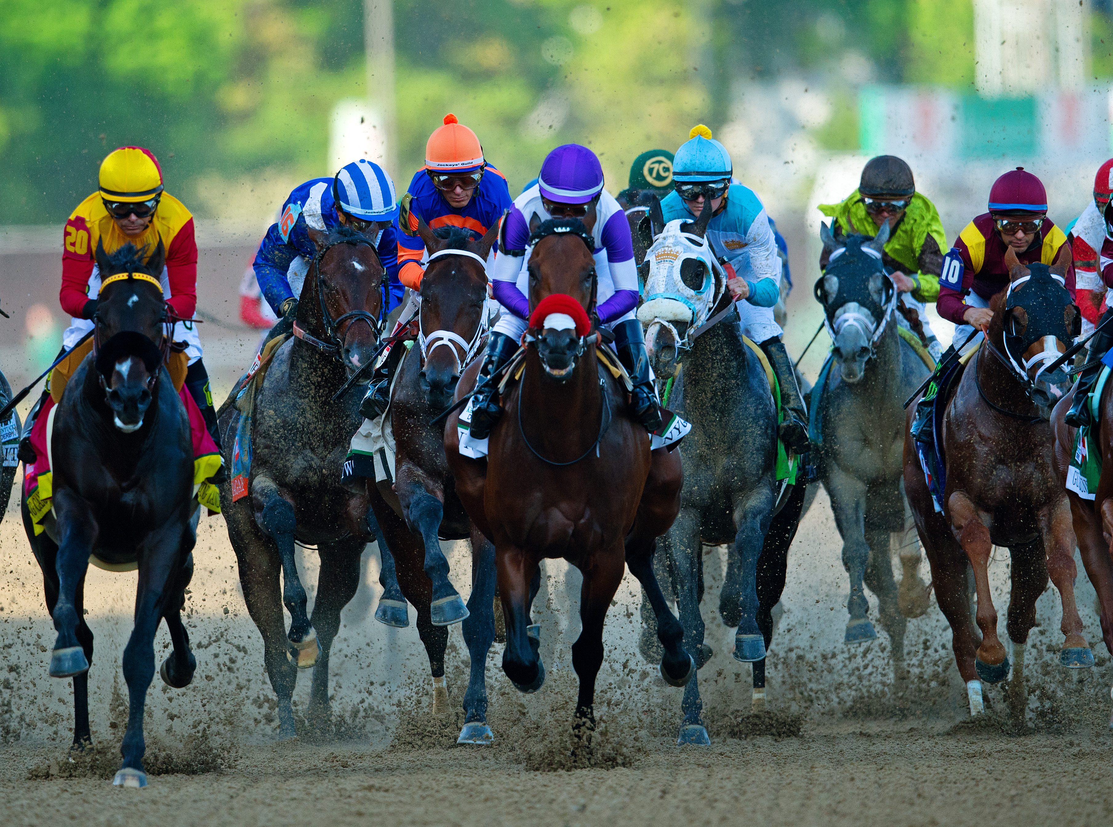 Nyquist, ridden by Mario Guitierrez (in purple), won the 142nd Kentucky Derby on Saturday by 1 1/4 lengths. Here are some other images that caught our eye on May 7.
