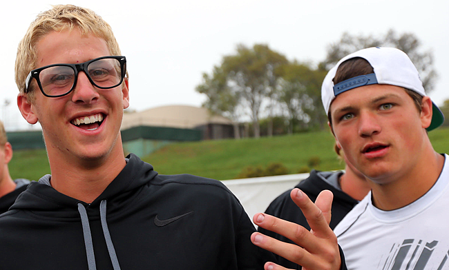 Jared Goff (l.) and Christian Hackenberg first met as high schoolers before their senior seasons.