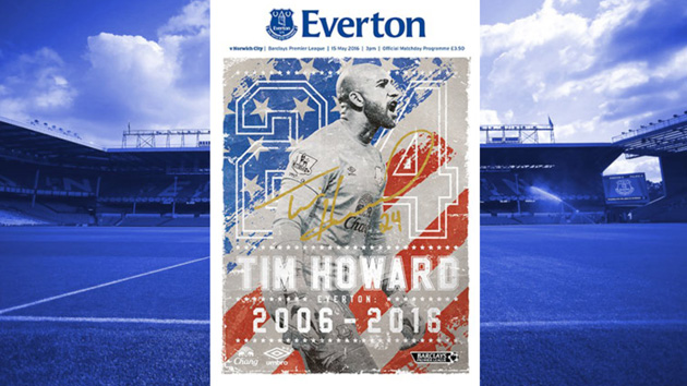 Tim Howard on Everton's matchday program