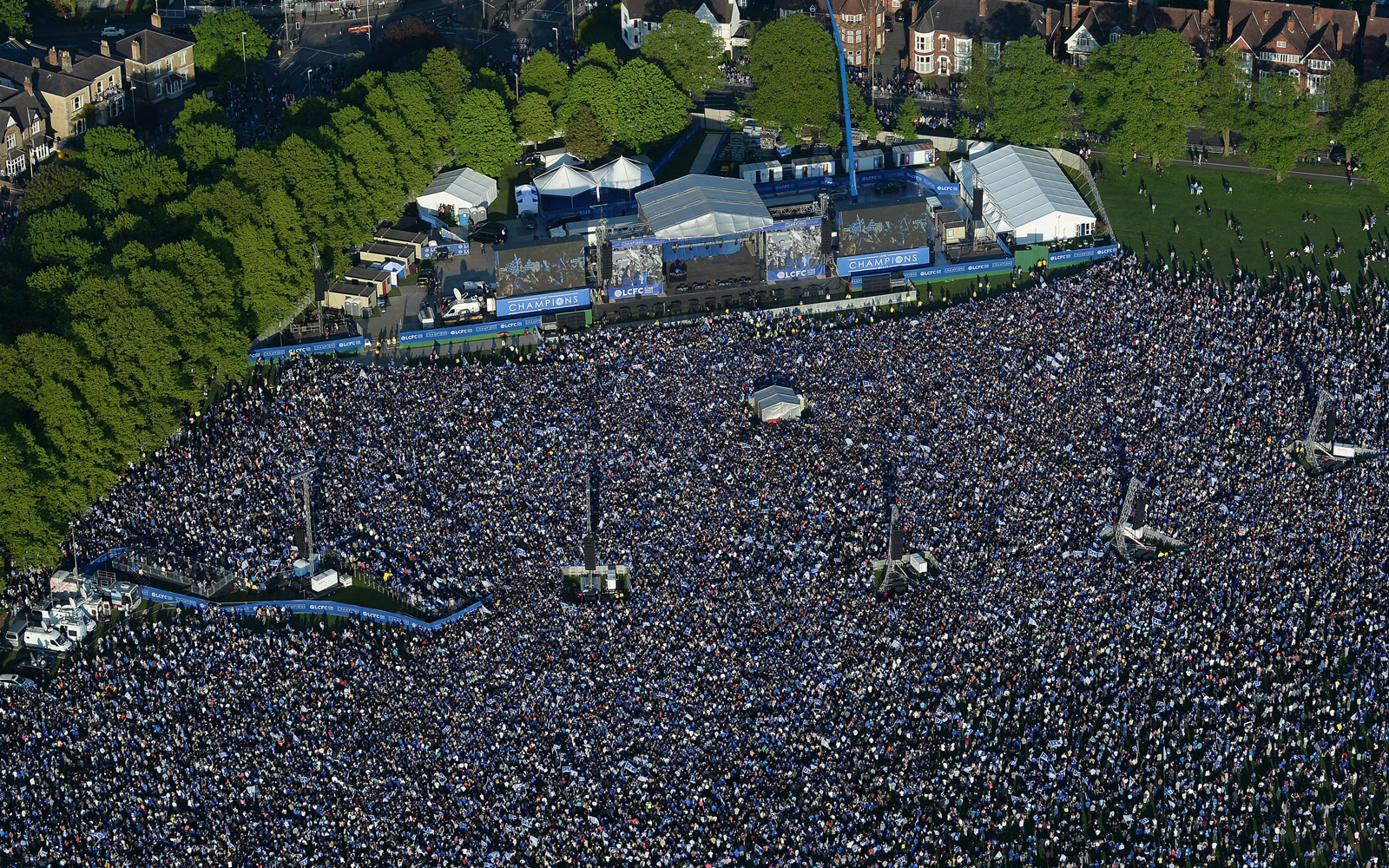 Thousands upon thousands pack Victoria Park in Leicester to celebrate Leicester City's Premier League title.