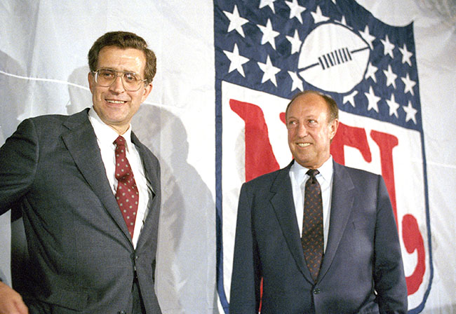Tagliabue and Rozelle, the day in October 1989 when Tagliabue was introduced as the NFL's next commissioner.