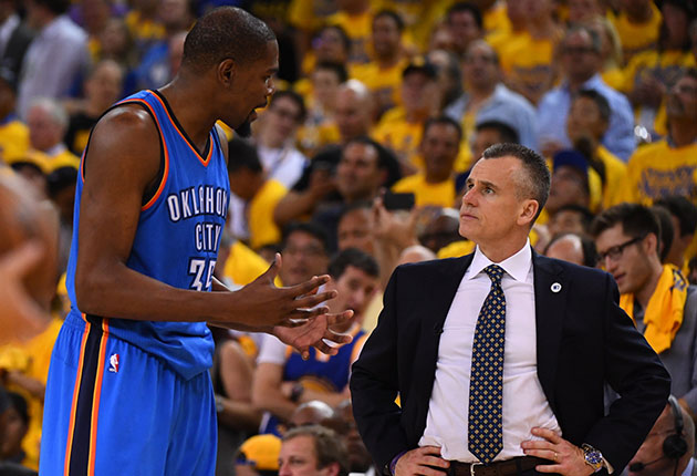 Kevin Durant and Billy Donovan