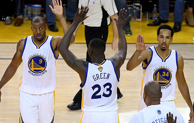 Andre Iguodala, Draymond Green and Shaun Livingston